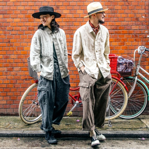 Linen Dying Coverall Jacket & Linen Dying Cargo Pants