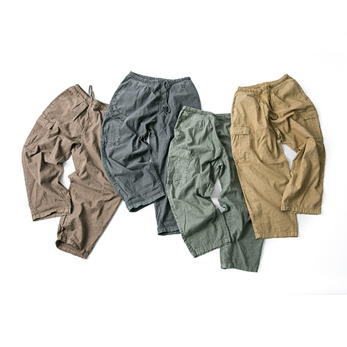 Linen Dyeing Cargo Pants - 4color