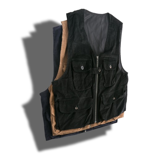 Multi Pocket Corduroy Vest - 3color
