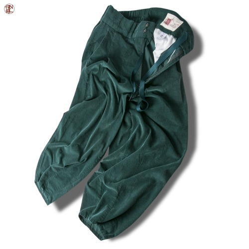 Corduroy Easy Balloon Pants - Blue_Green