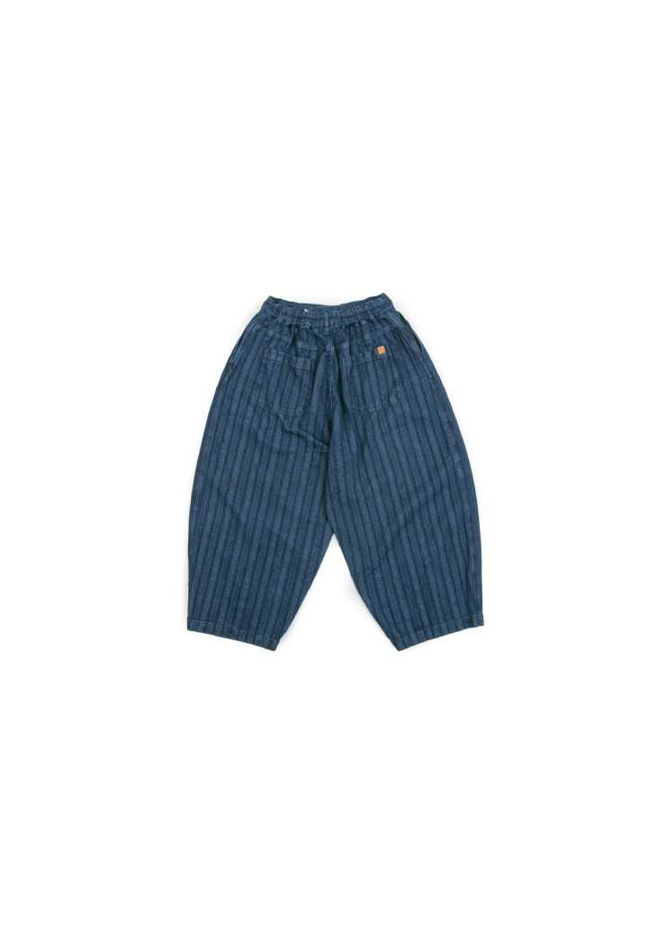Indigo Stripe Balloon Pants