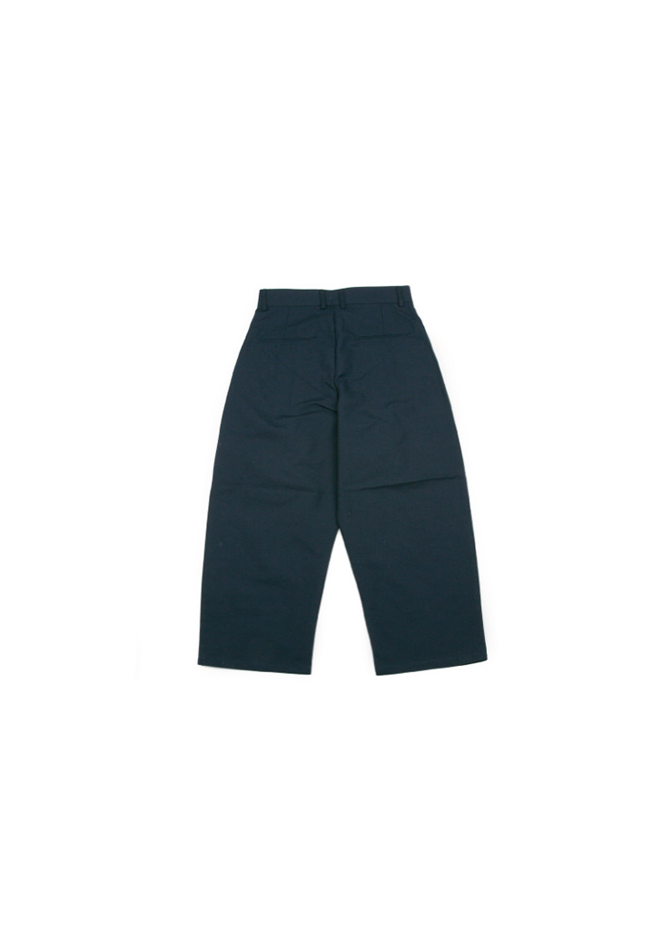 [M] Wide Cotton Pintuck Pants - Navy