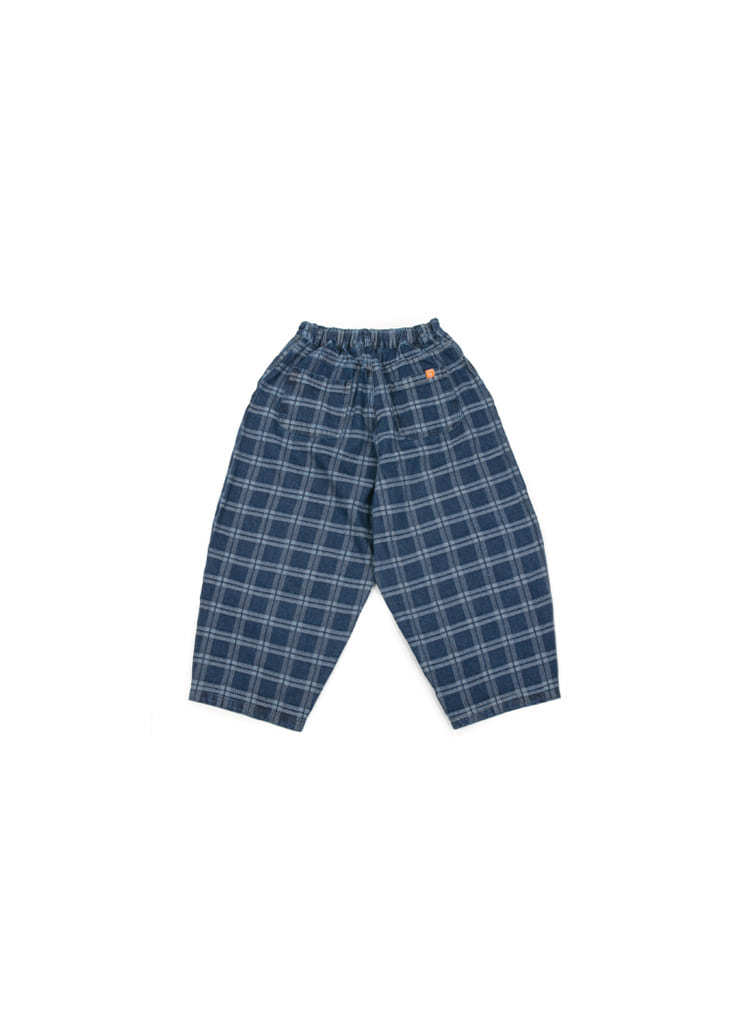 Indigo Check Balloon Pants