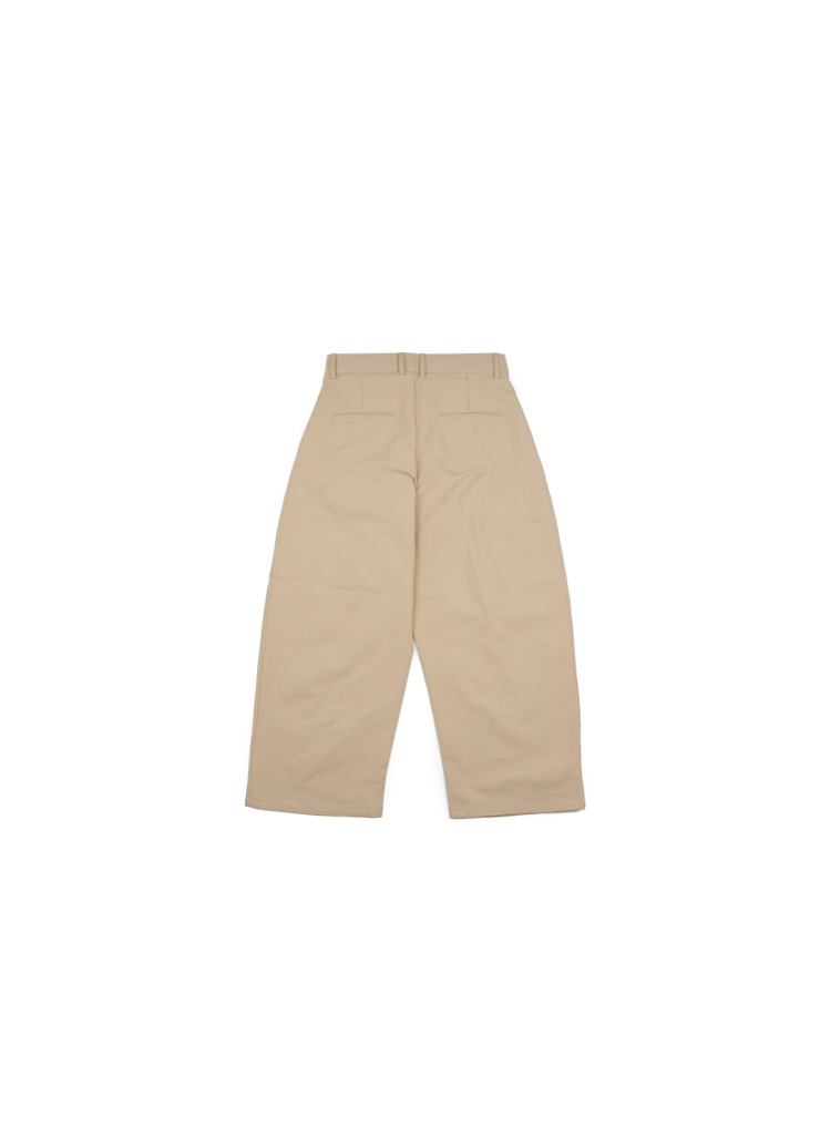[M] Wide Cotton Pintuck Pants - Beige