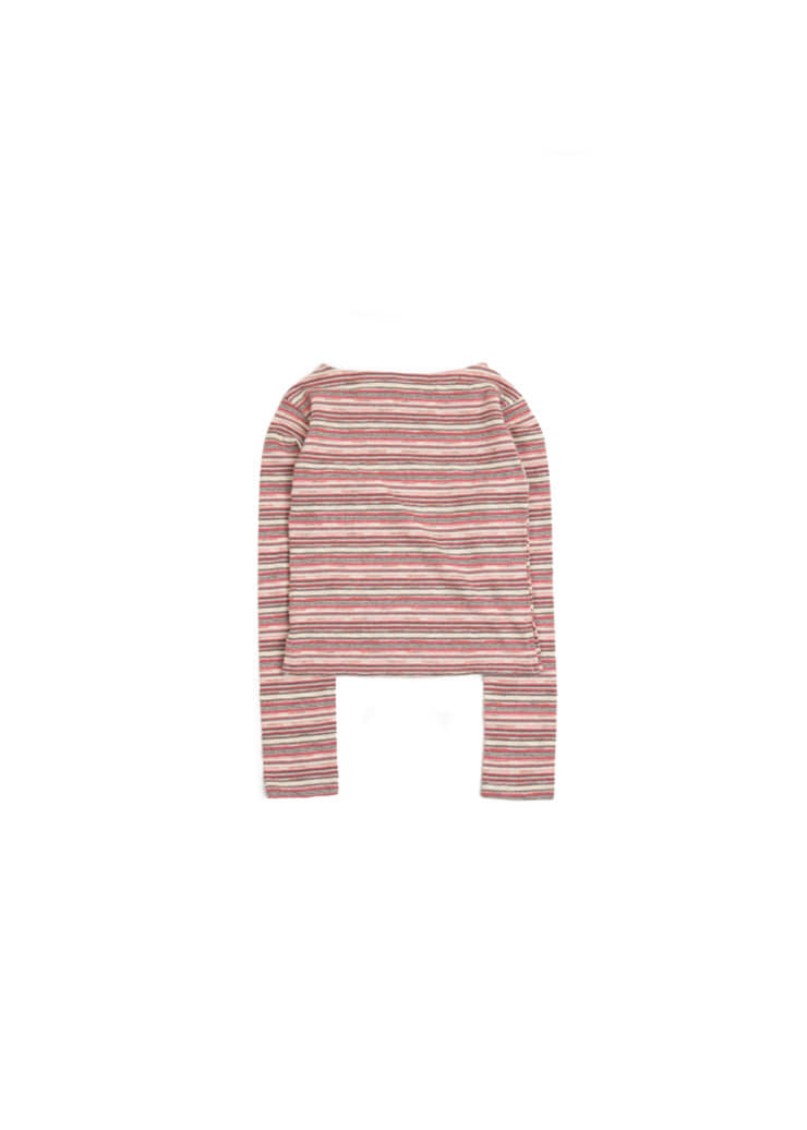 [W] Stripe Crop T-Shirt - Pink