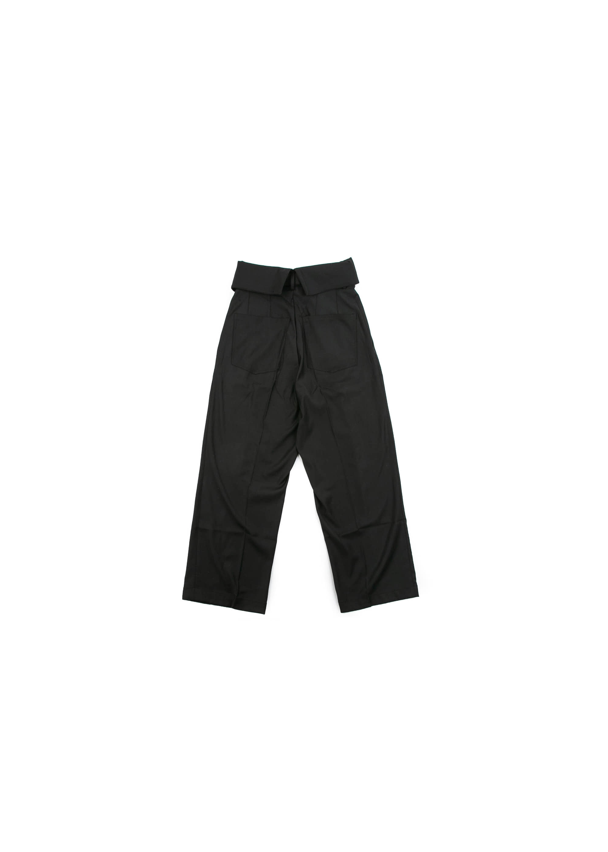 Over Fold Wide Slacks - Black