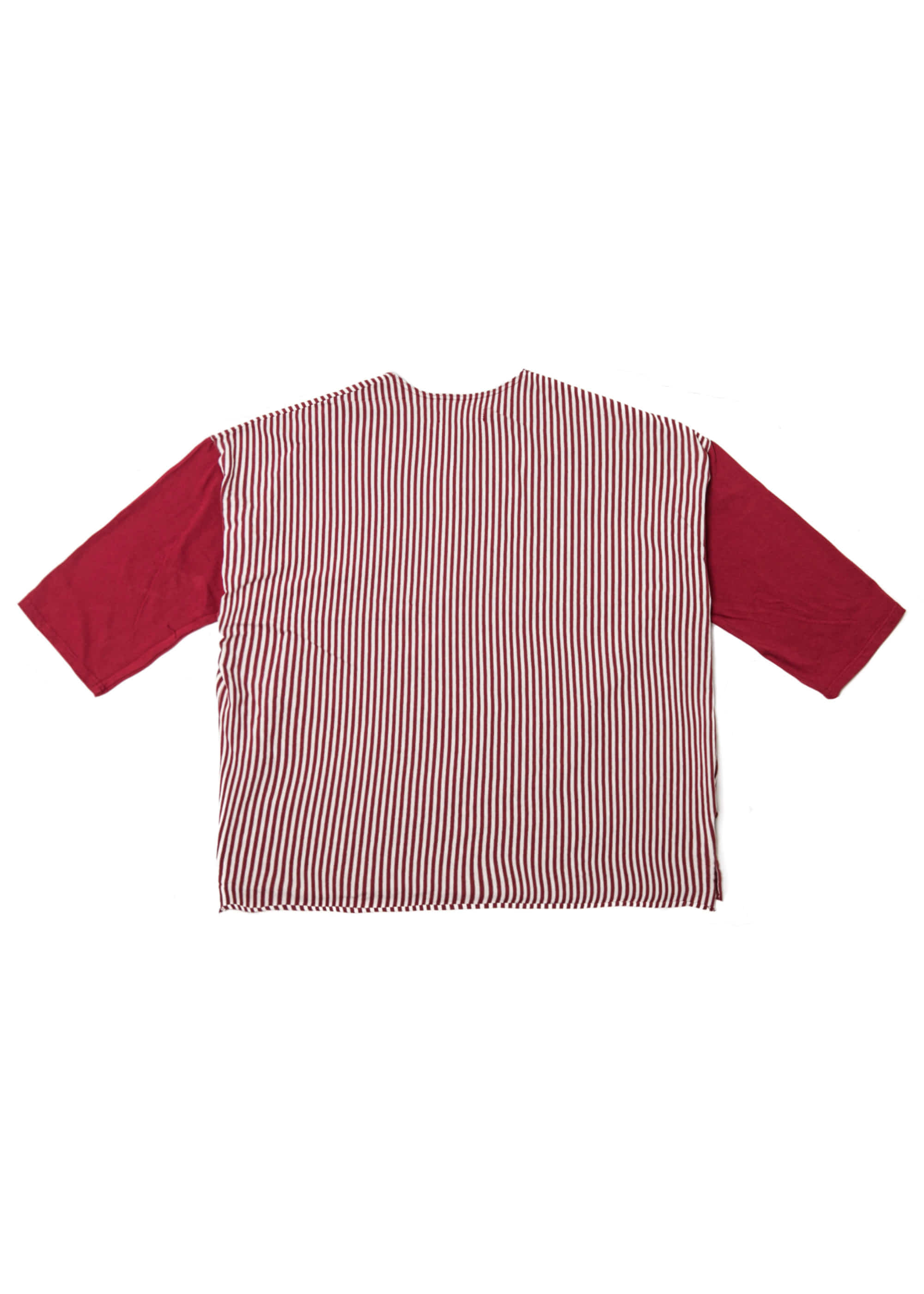 Stripe Henry Neck Over Tee - Red