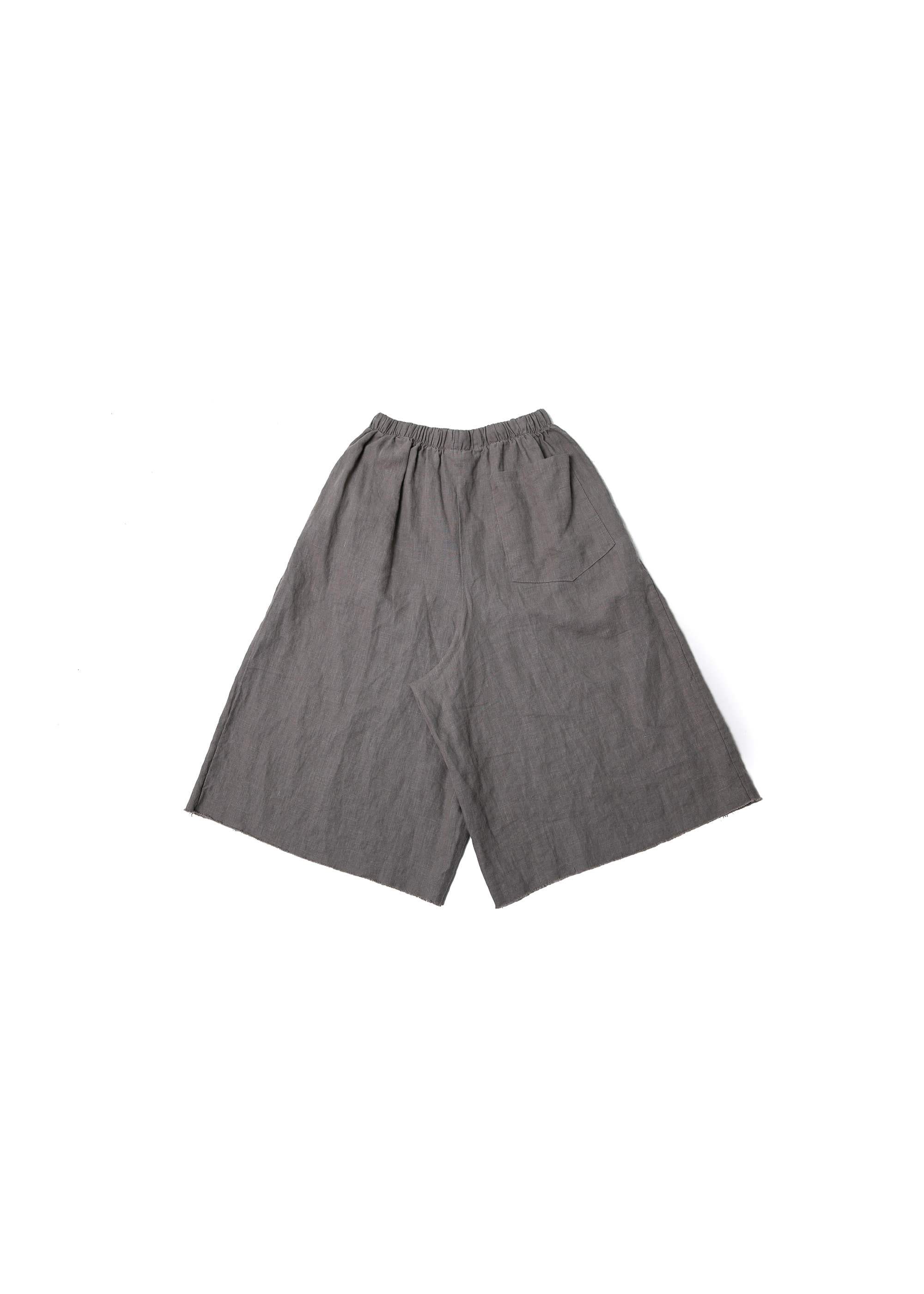 Linen Cutting Wide Pants - Grey