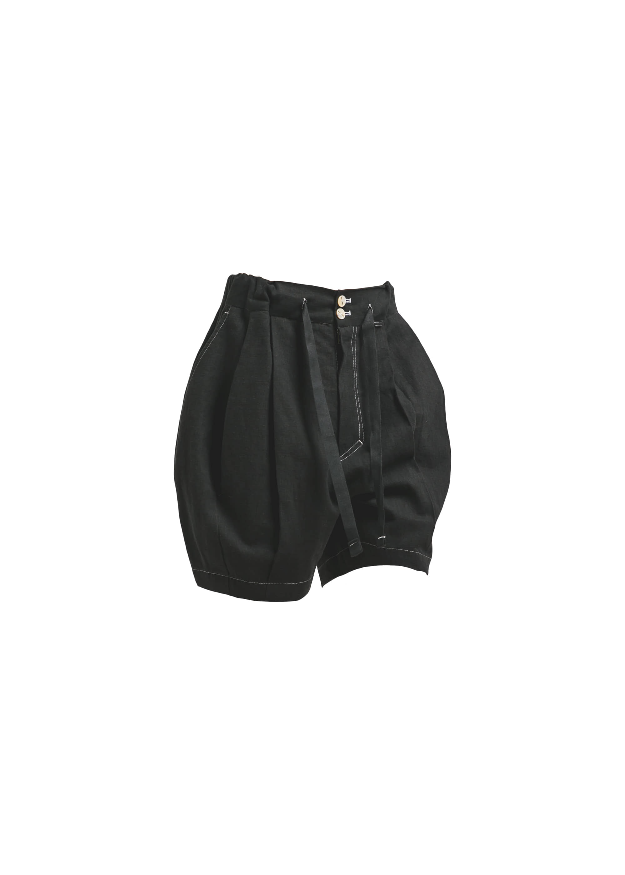 [AG] Linen Balloon Shorts - Black