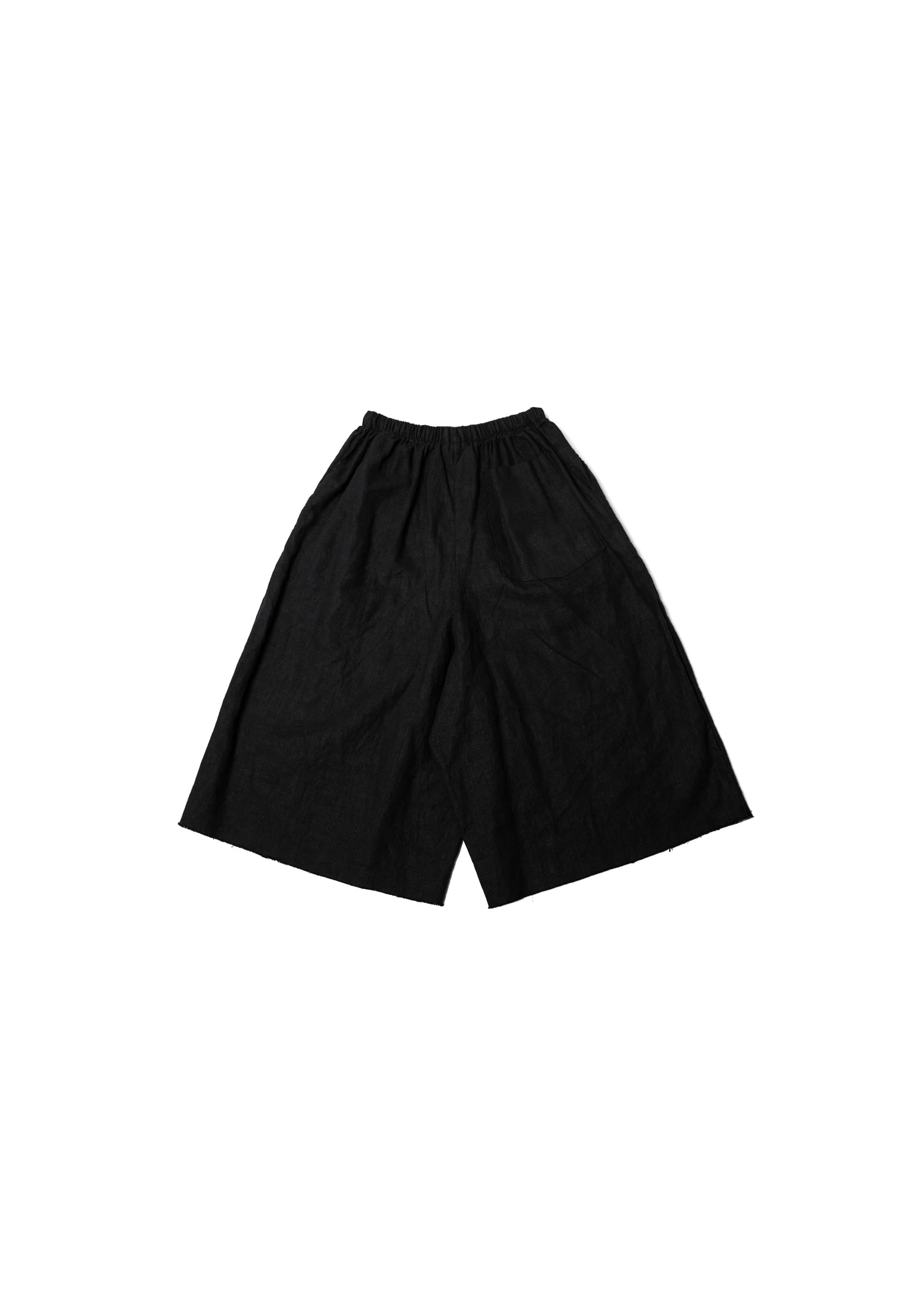 Linen Cutting Wide Pants - Black