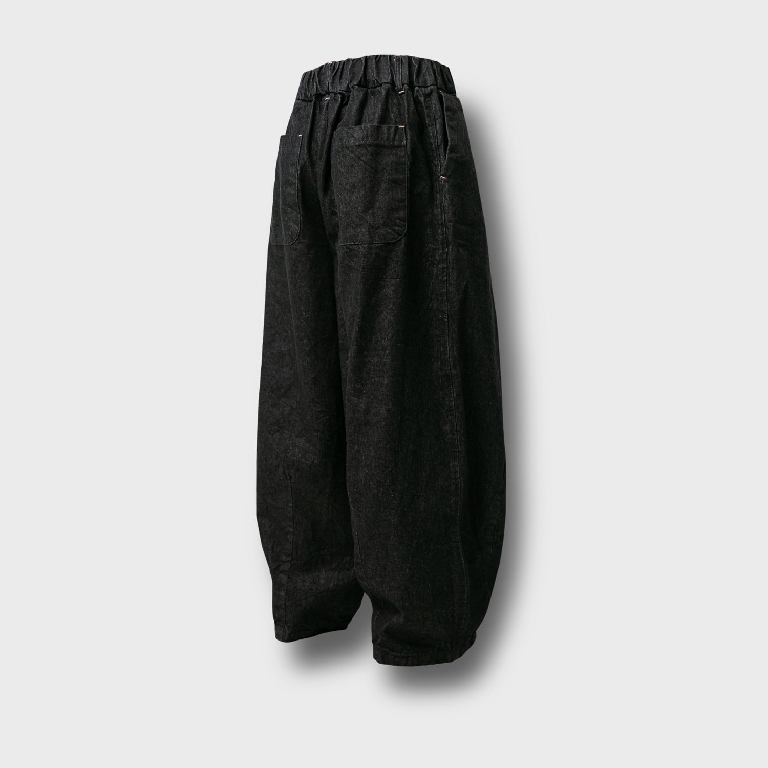 [AG] Raw Denim String Balloon Pants - Dark Grey