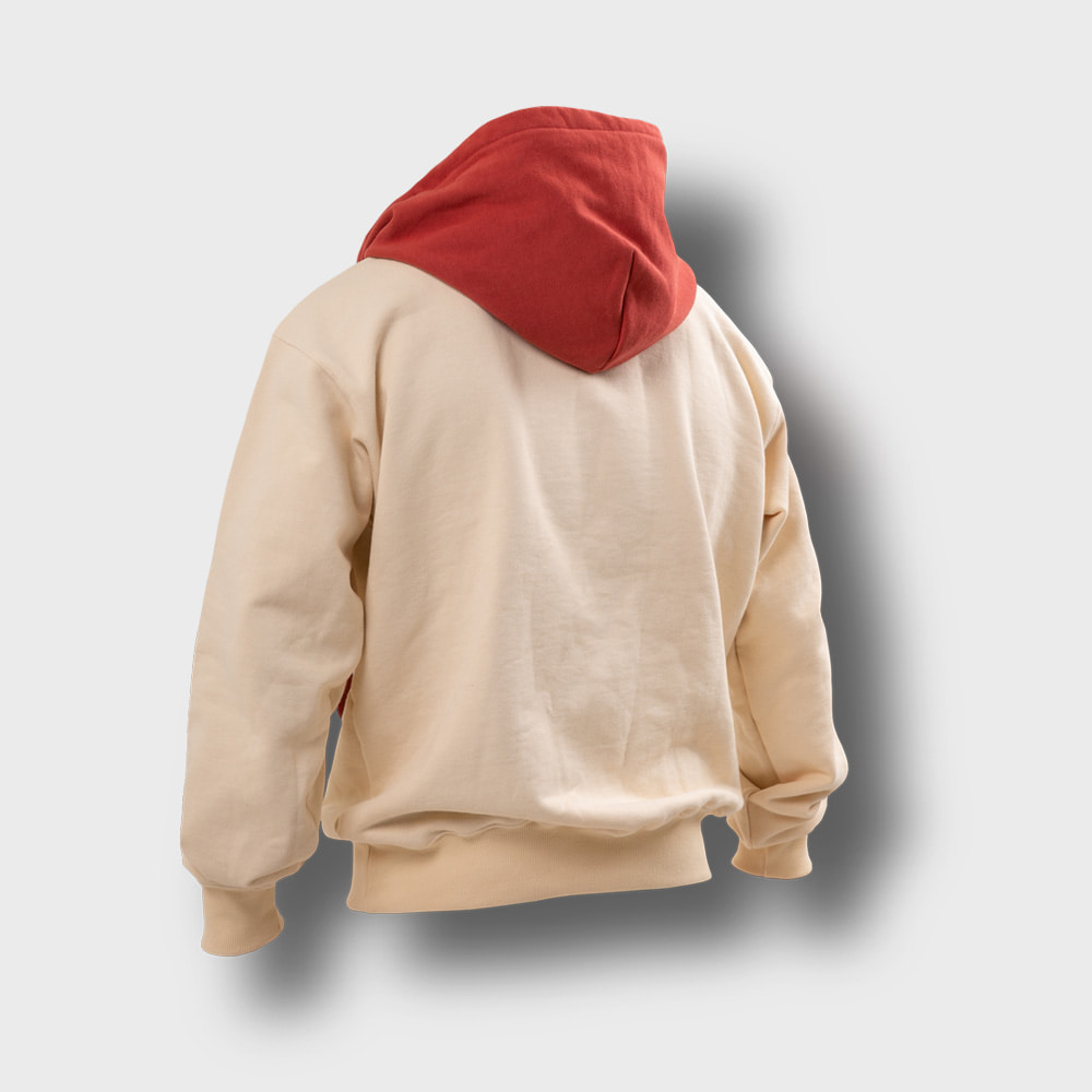 [AG] Ethnic Color Combi Hoodie - Coral