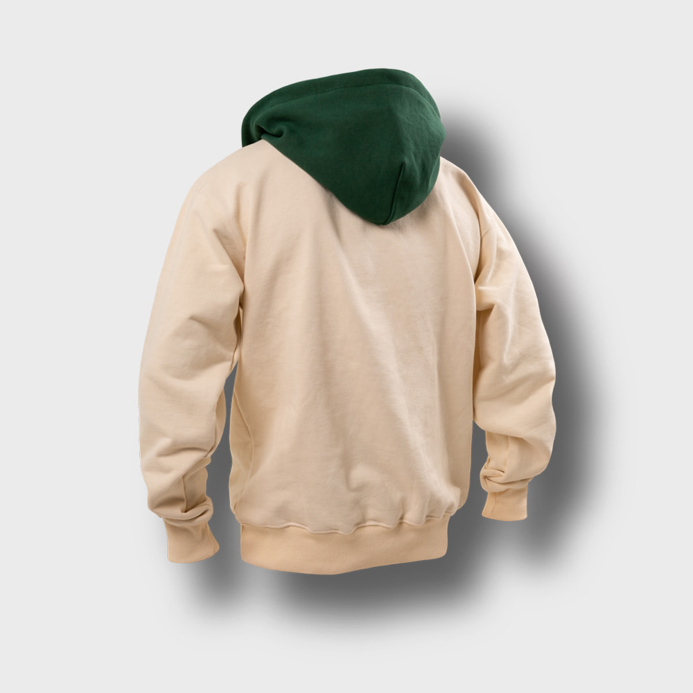 [AG] Ethnic Color Combi Hoodie - Green