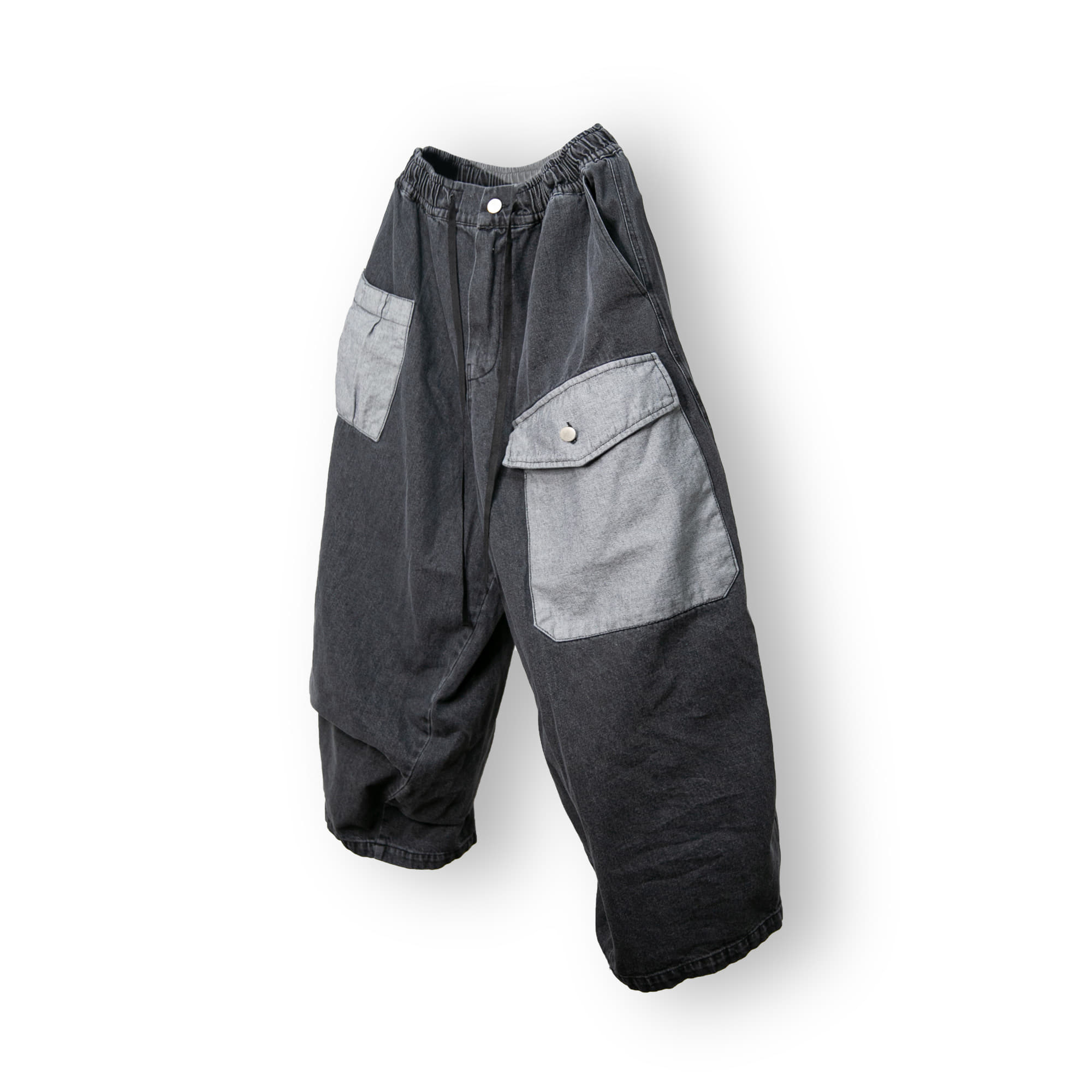 Double Pocket Denim Balloon Pants - Grey