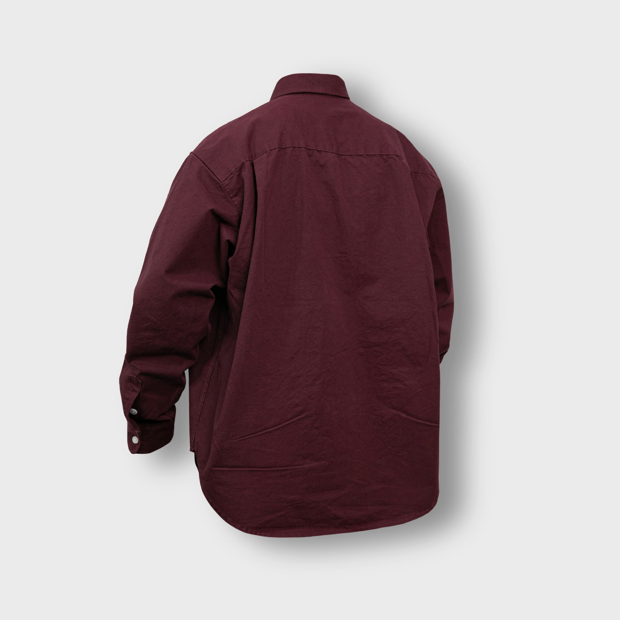 [AG] Oxford Wide Over Shirt - Burgundy