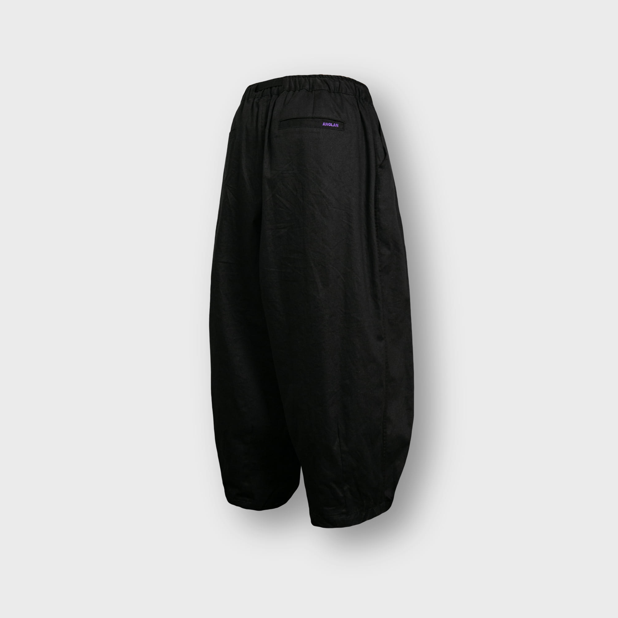 [AG] Twill Cotton Belt Balloon Pants - Black