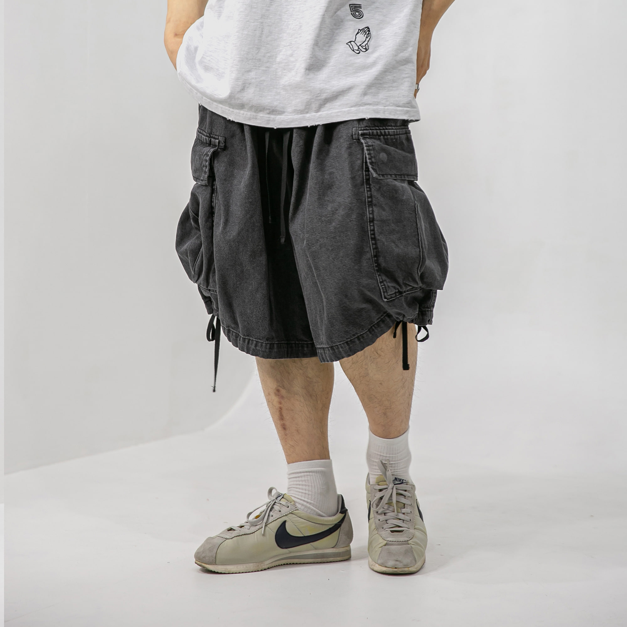Denim Cargo Balloon Shorts - Grey