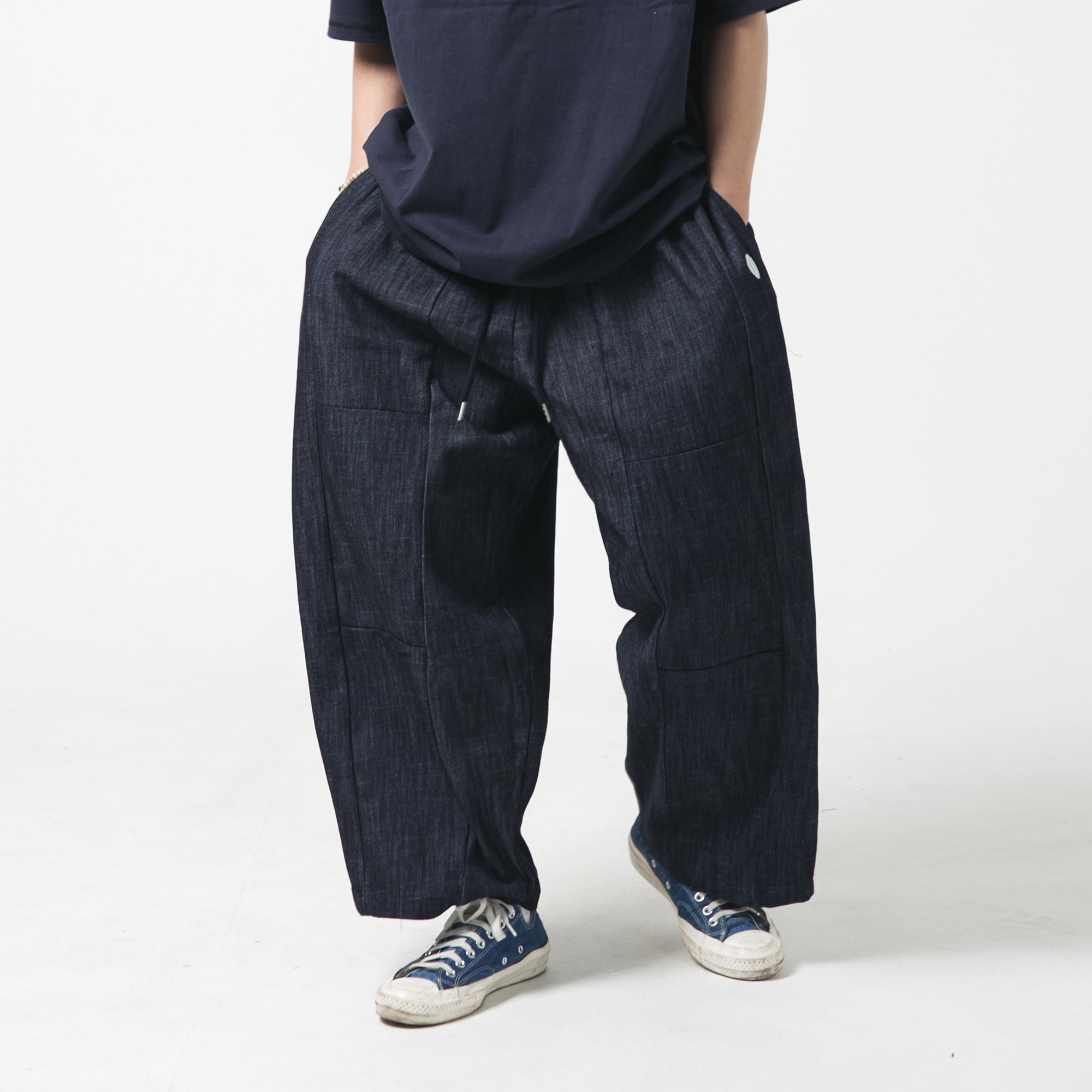 [AG] Section Wide Denim Balloon Pants - Dark Blue