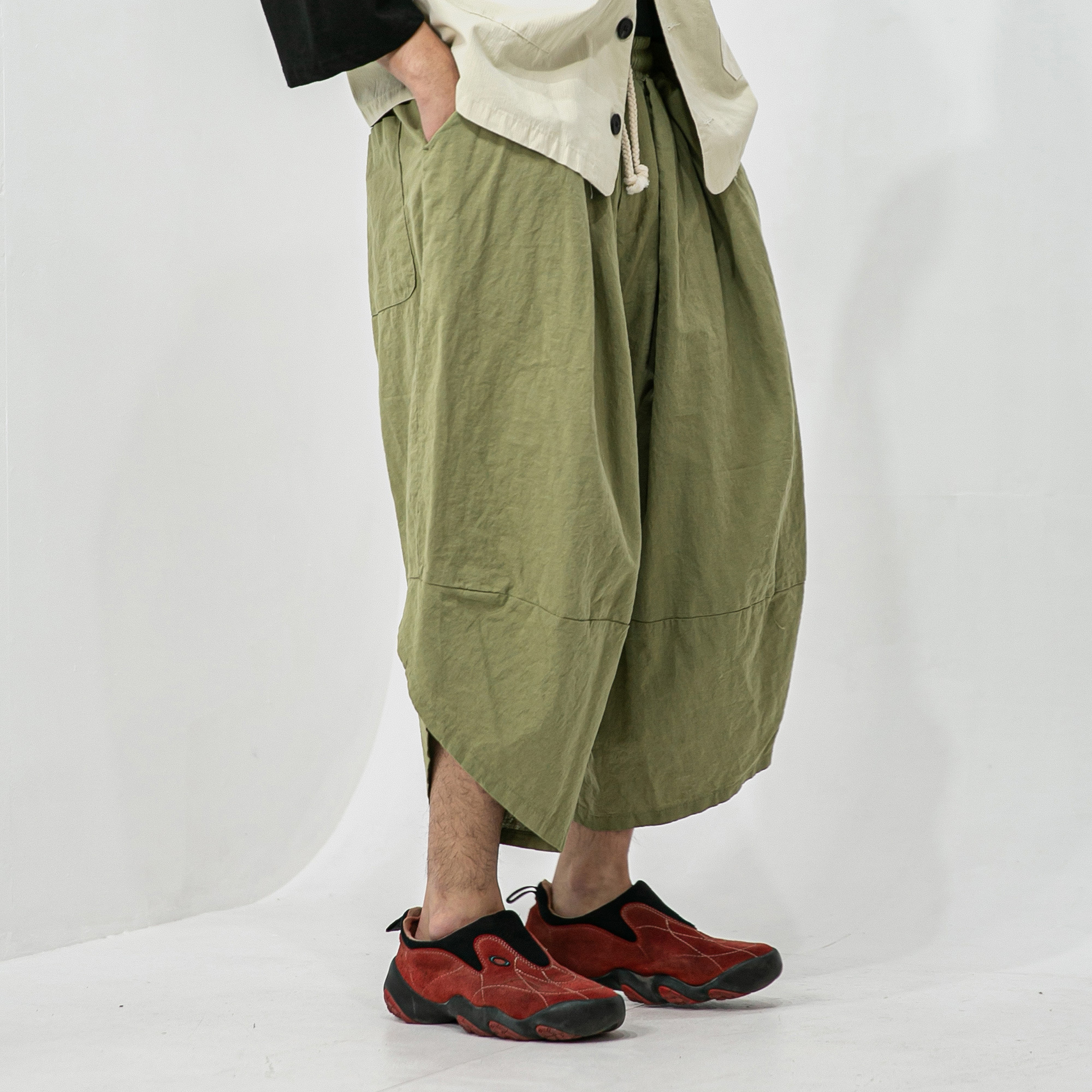 Linen Oblique Loose Pants - Khaki