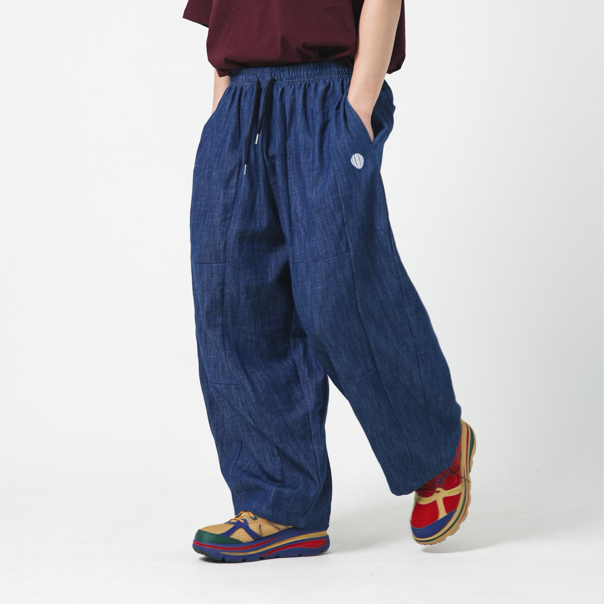 [AG] Section Wide Denim Balloon Pants - Blue