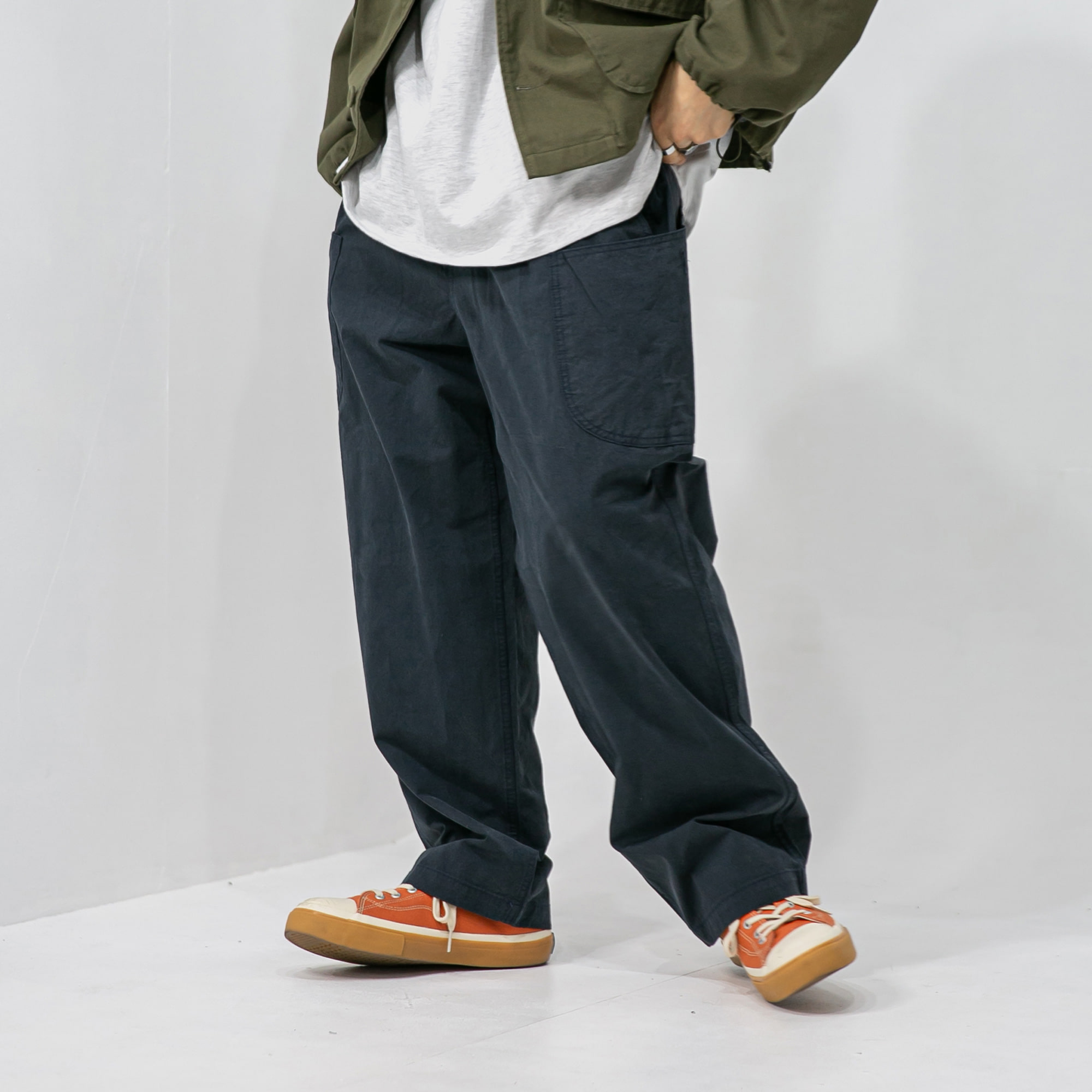 Belt Side Cargo Wide Pants - Navy