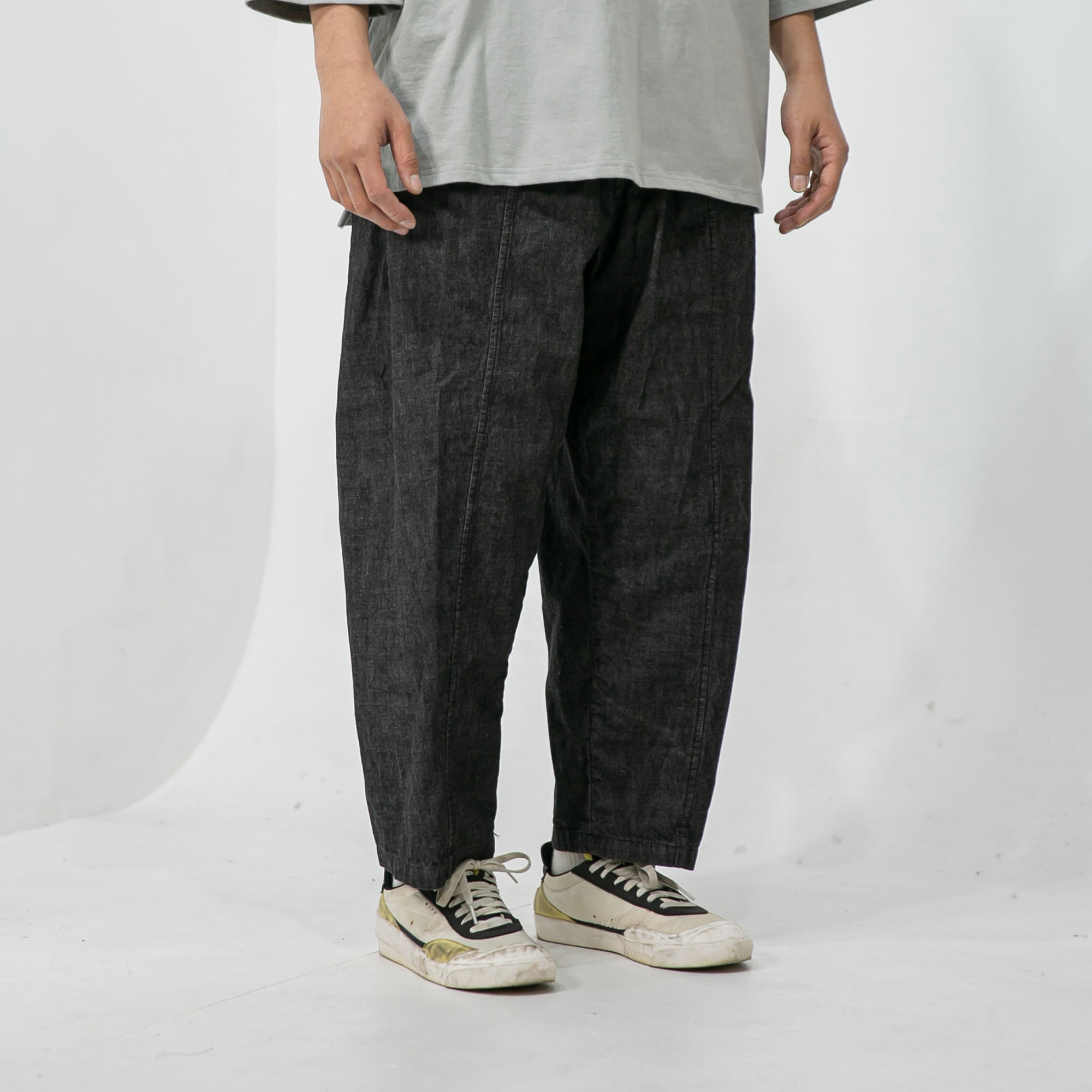 Straight Wide Denim Pants - Dark Grey