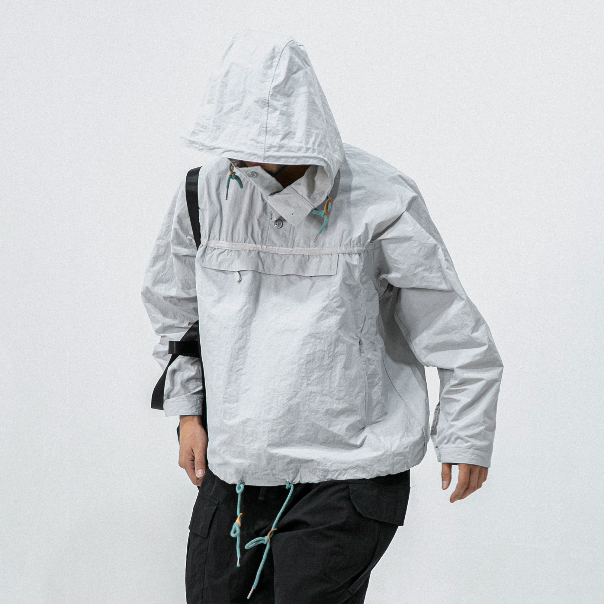 Crumple Out Wide Anorak - Grey