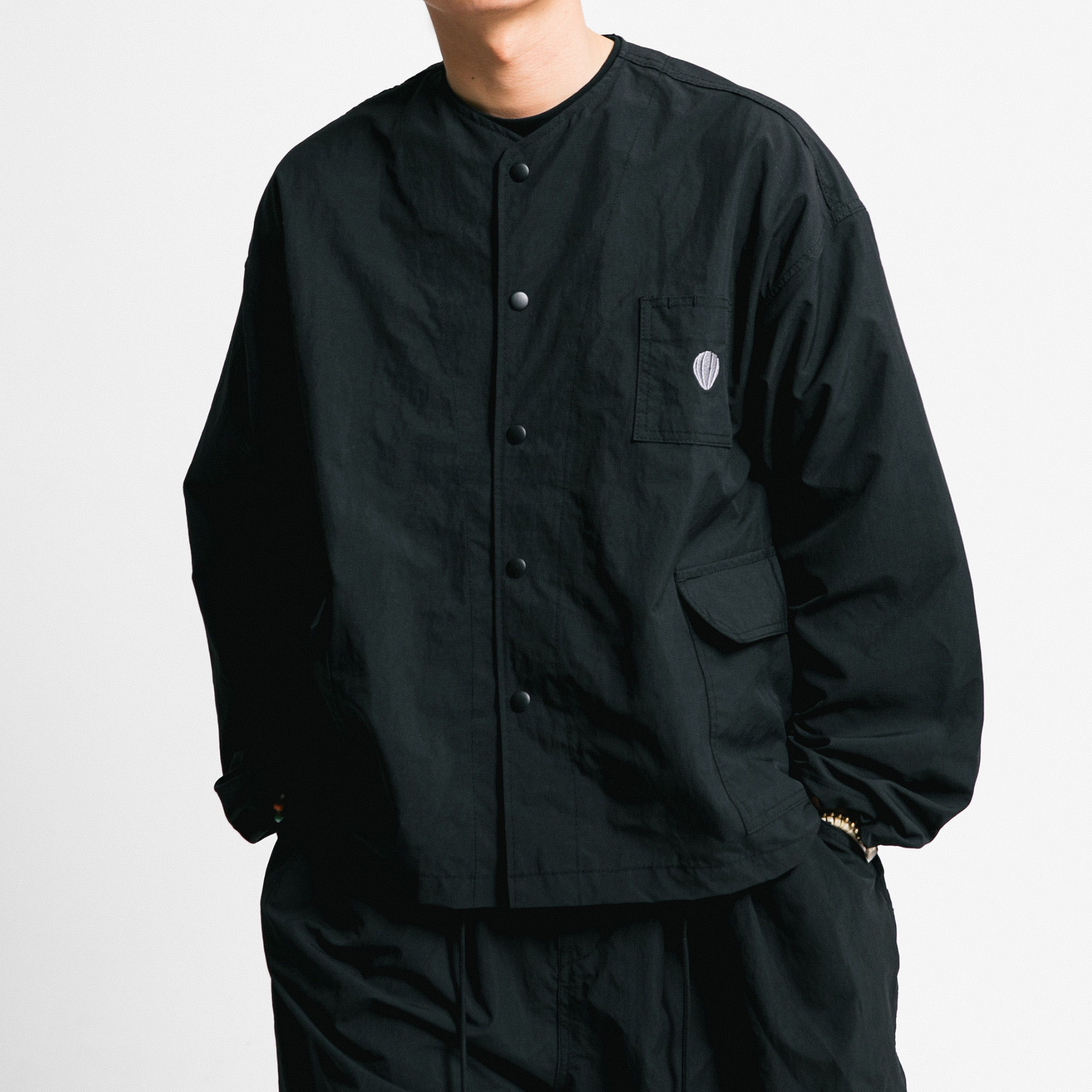 [AG] Rib Nylon Public Jacket - Black