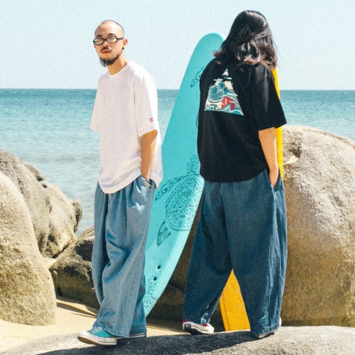 Wind Wave Tee & Denim Balloon Pants - 2color