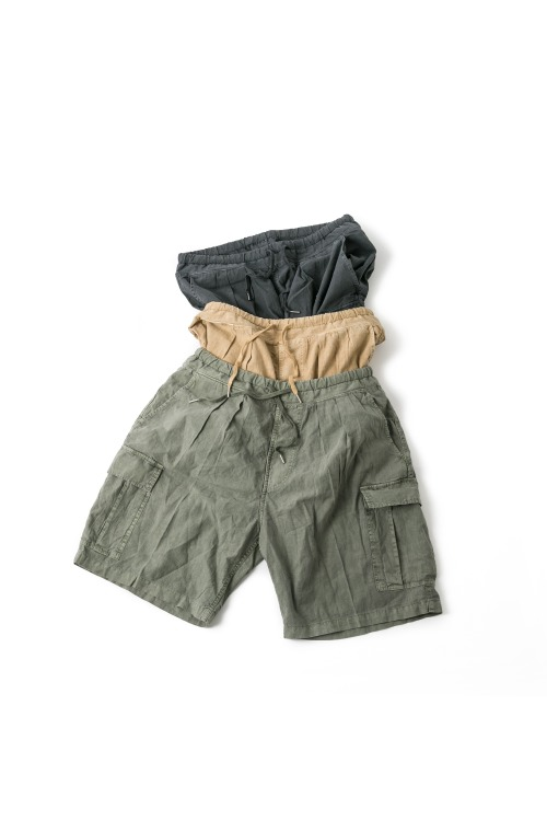 Linen Dyeing Cargo Half  Pants - 3color