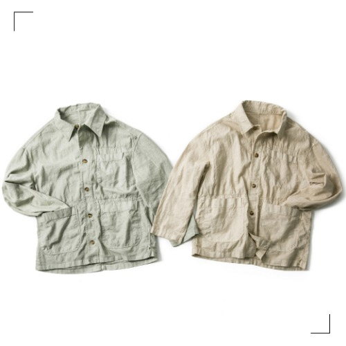 Linen Dyeing Coverall Jacket - 2color