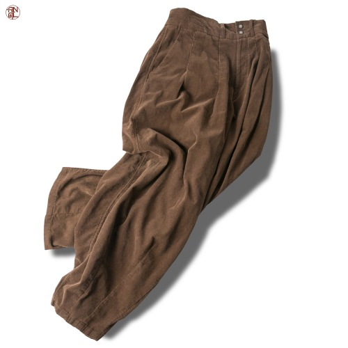 Corduroy Easy Balloon Pants - Brown