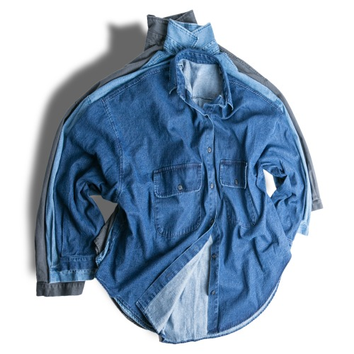 Two Pocket Denim Over Shirts - 3color