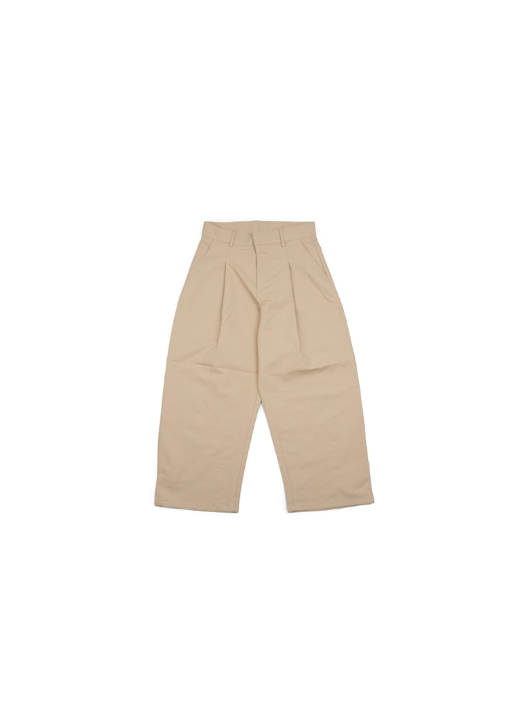 Wide Cotton Pintuck Pants - Beige