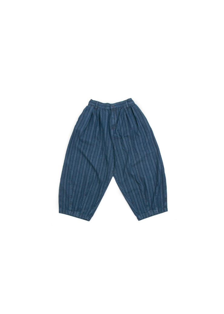 [U] Indigo Stripe Balloon Pants [ RE ]