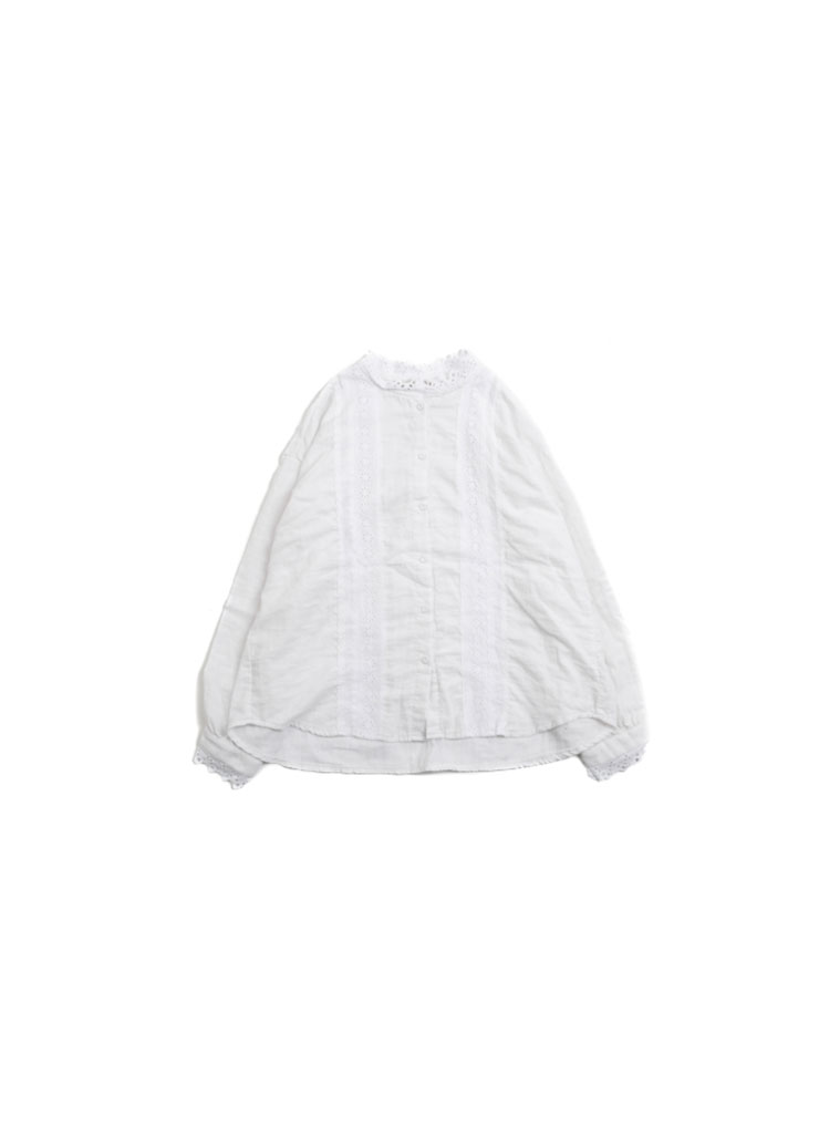 [W] Floral Lace Shirts - white