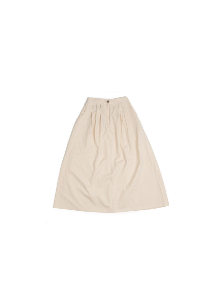[W] Twill Cotton Skirt - Ivory