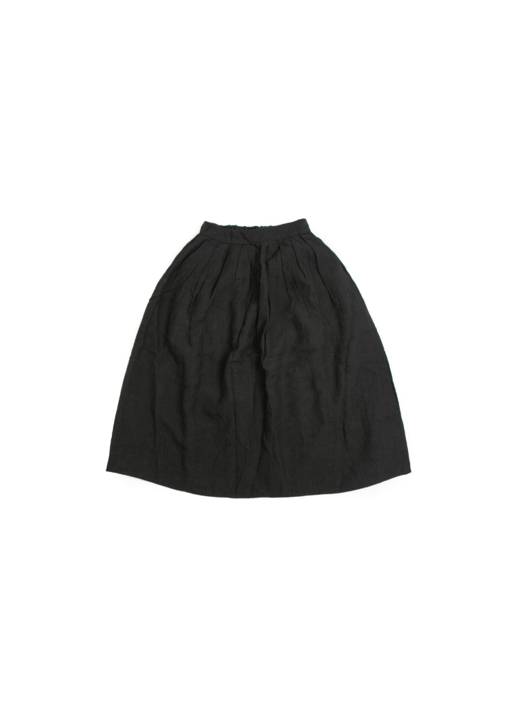[W] Linen Wide Skirt- Black