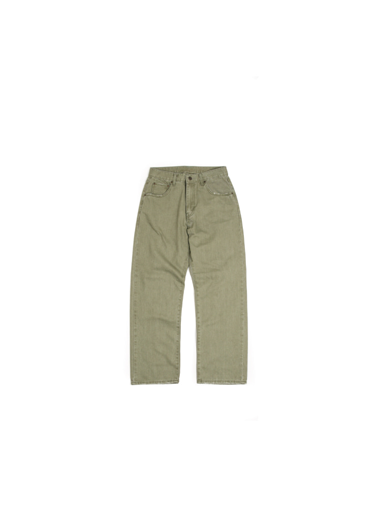 [W] Rivet Washing Denim Pants - Khaki