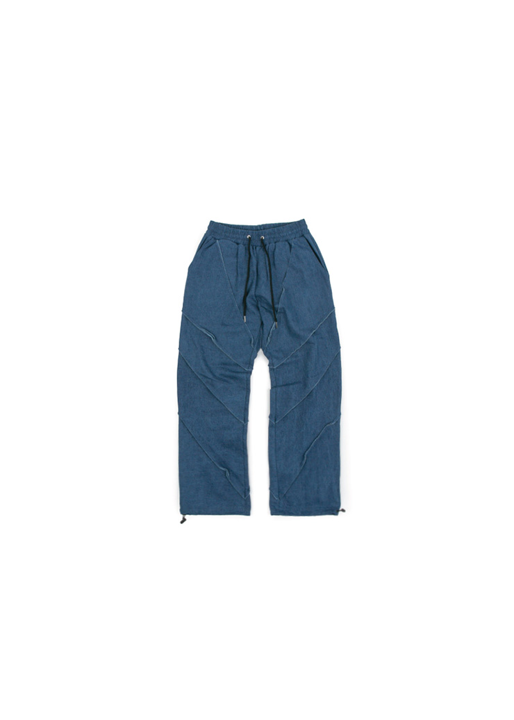 Denim Detail String Pants - Dark Blue