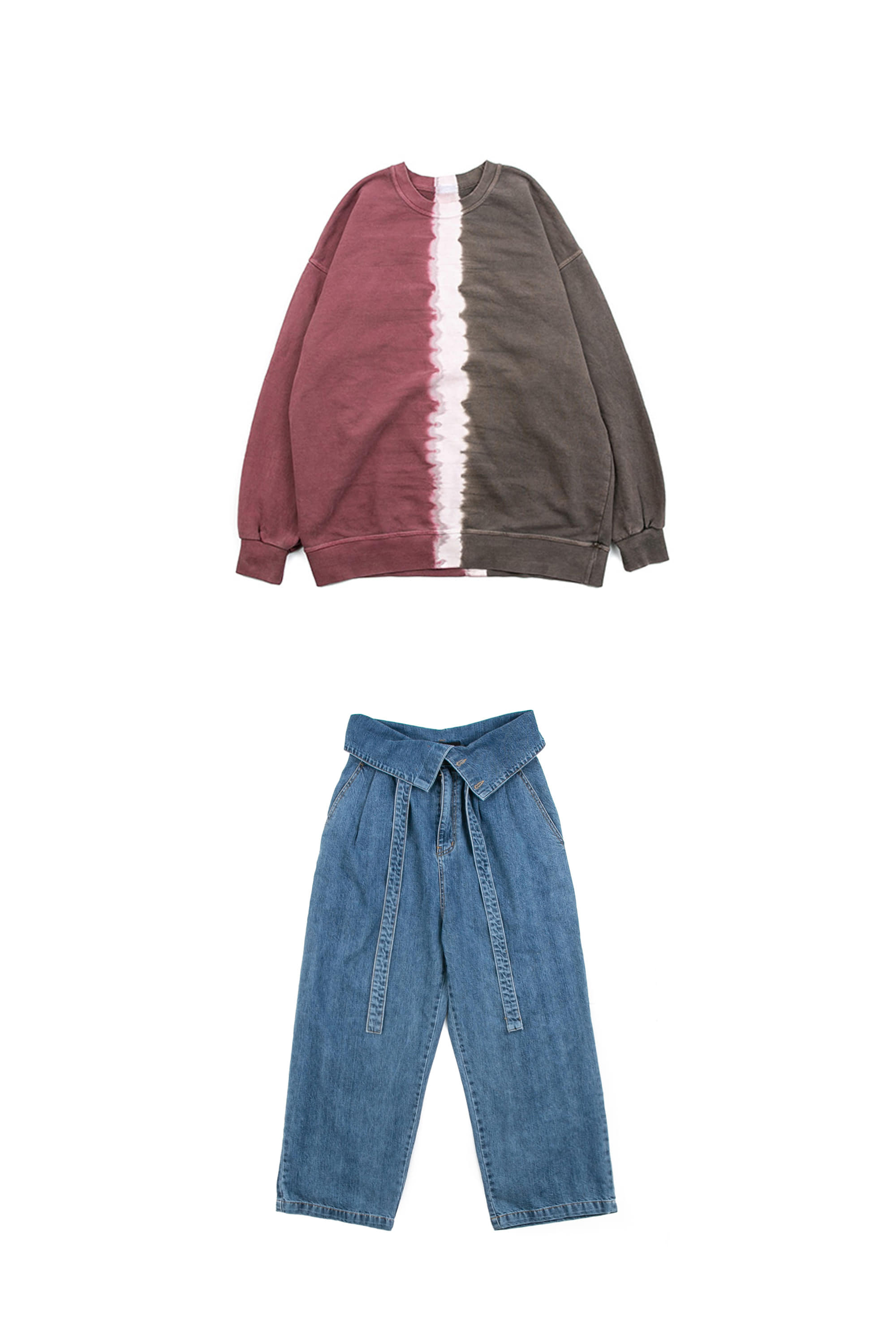 Half Tie-dye Sweat Shirts & Over Fold Denim Pants