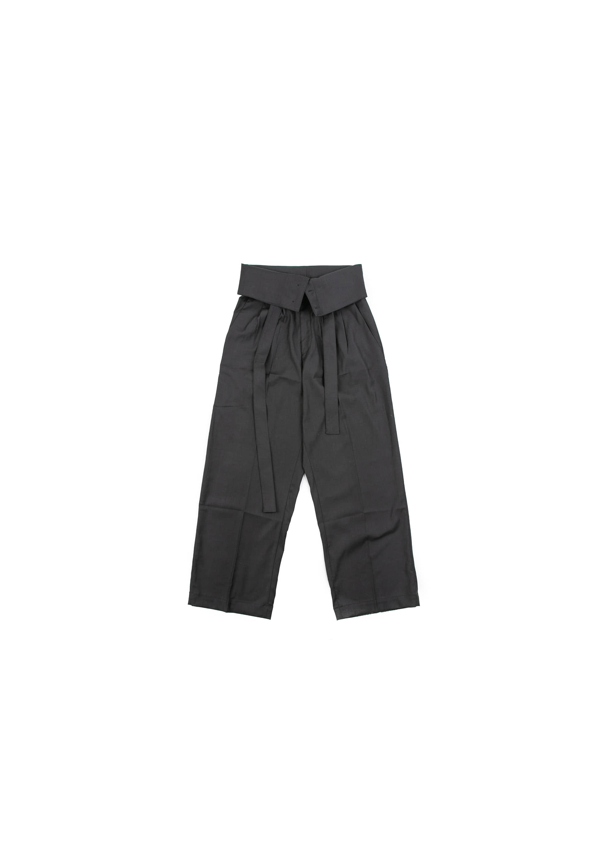 Over Fold Wide Slacks - Grey