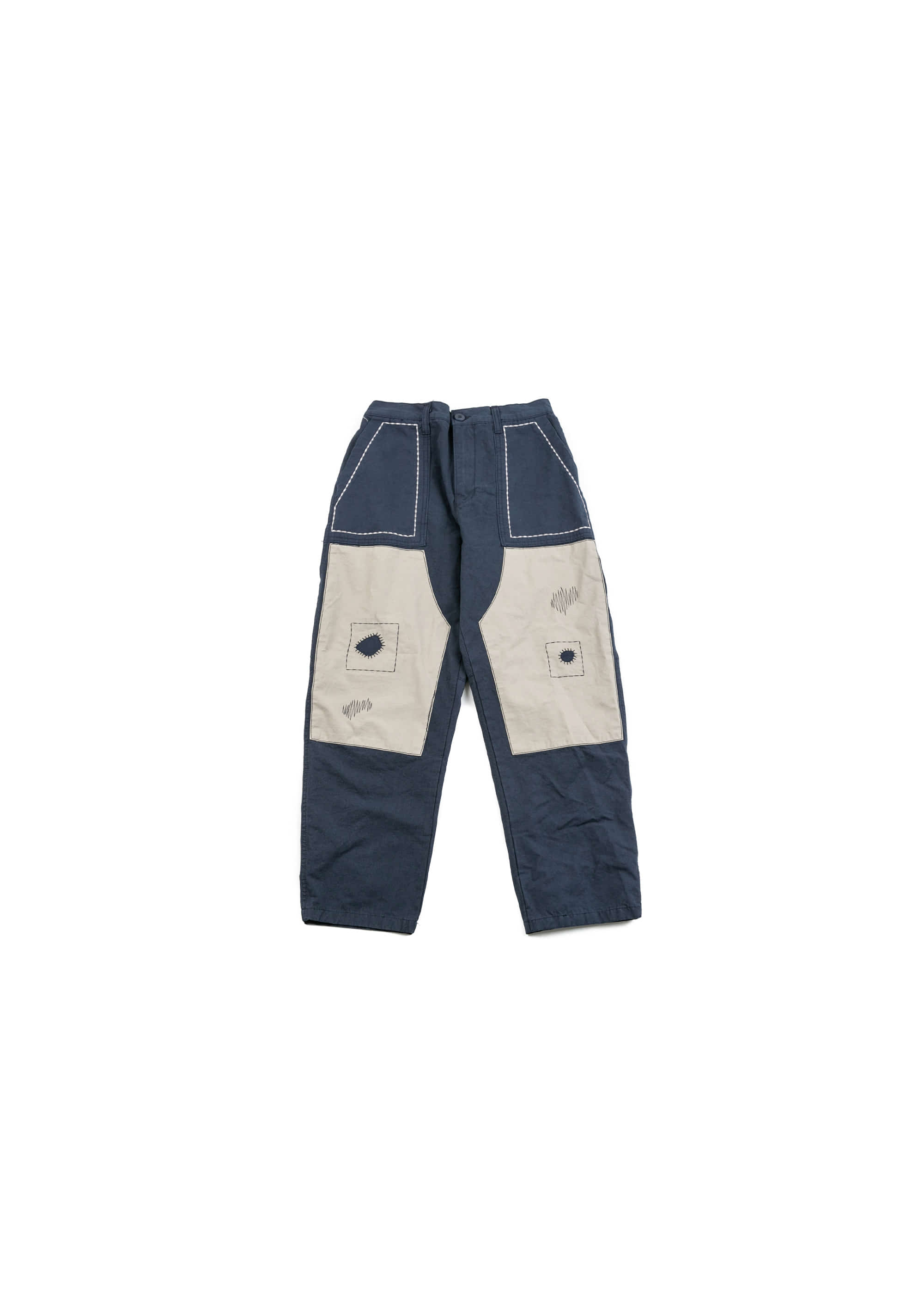 Build Patch Work Pants - Navy [ RE ]
