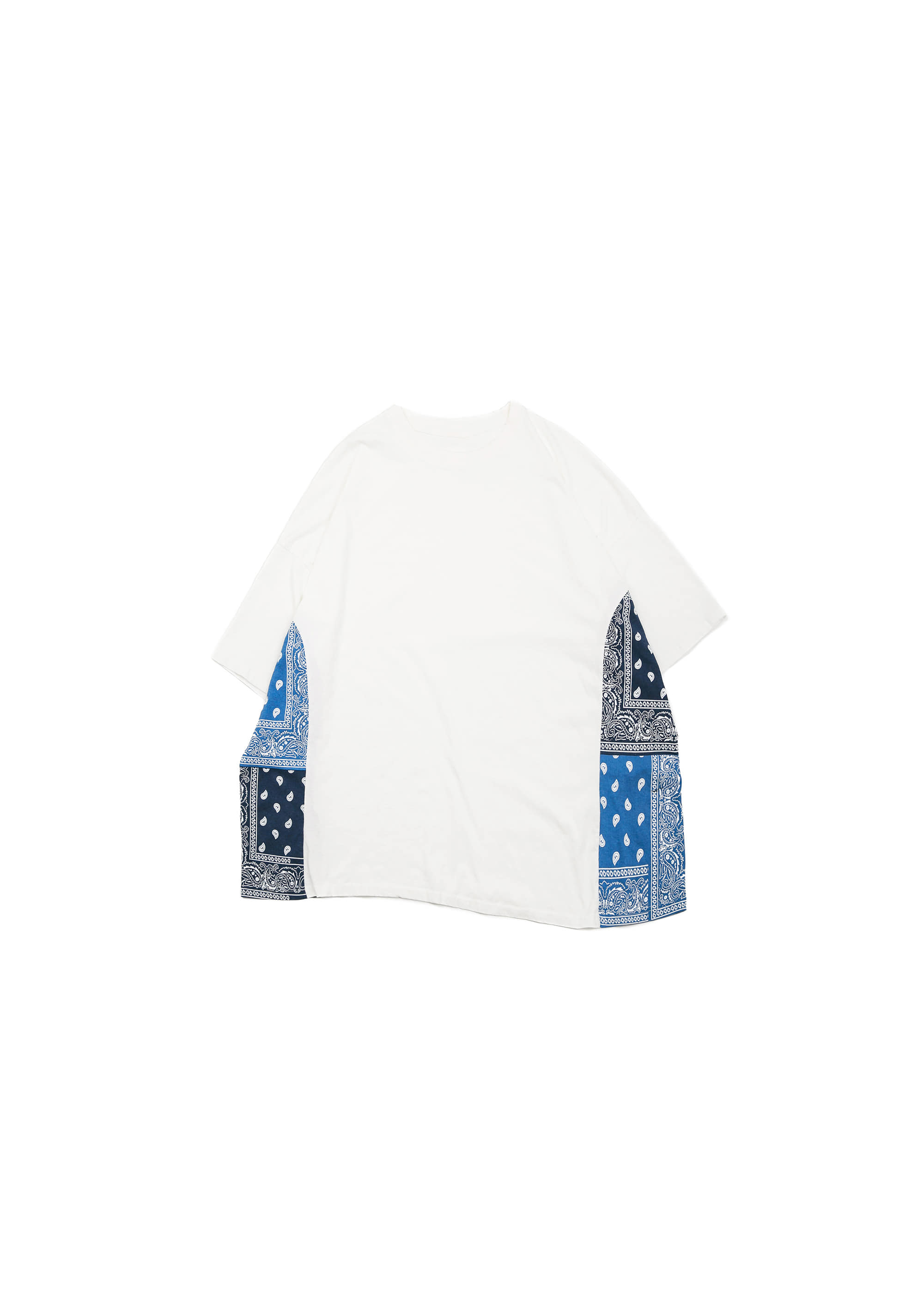Side paisley Half Tee - White