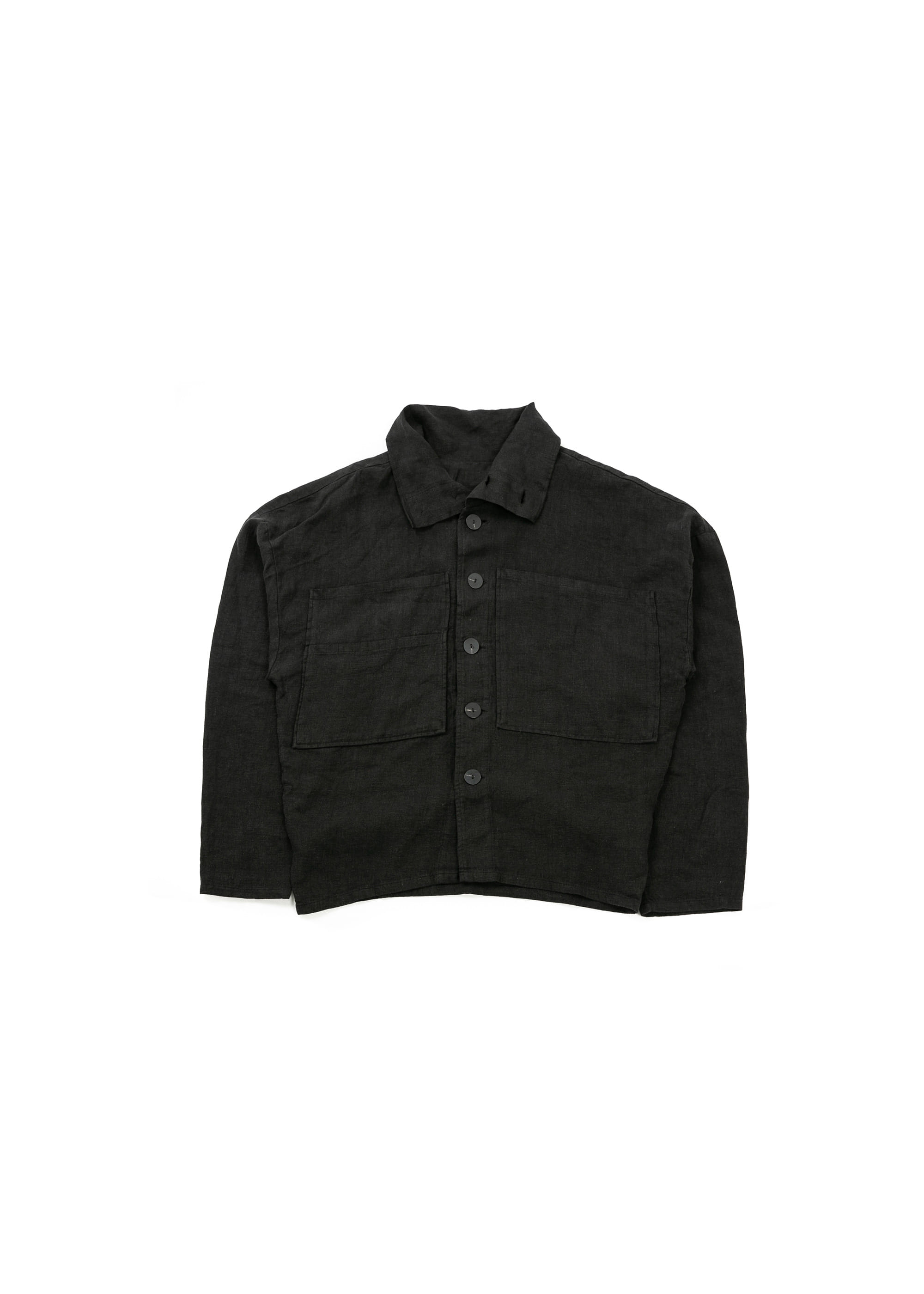 Linen Big High Neck Jacket - Black