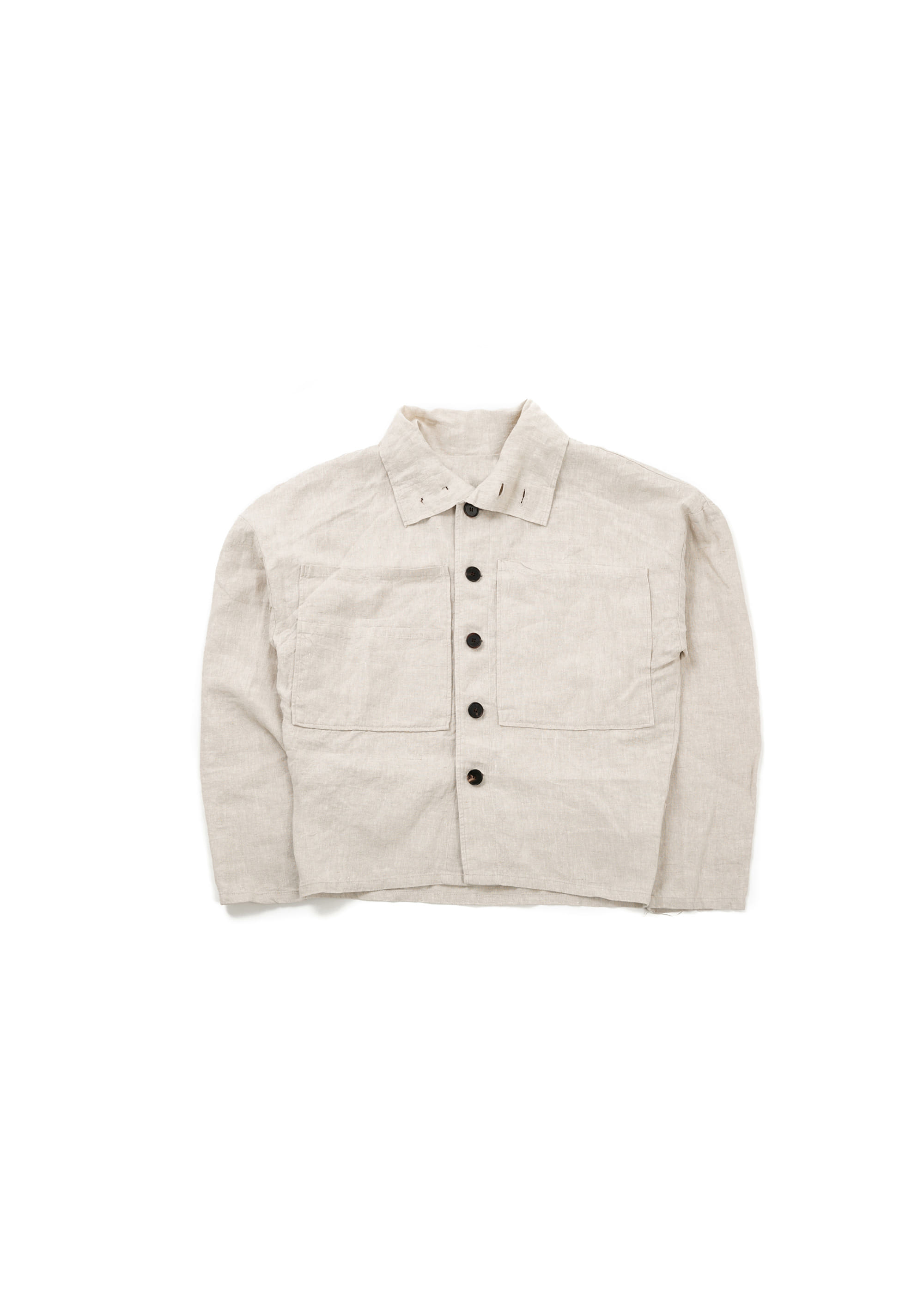 Linen Big High Neck Jacket - Beige