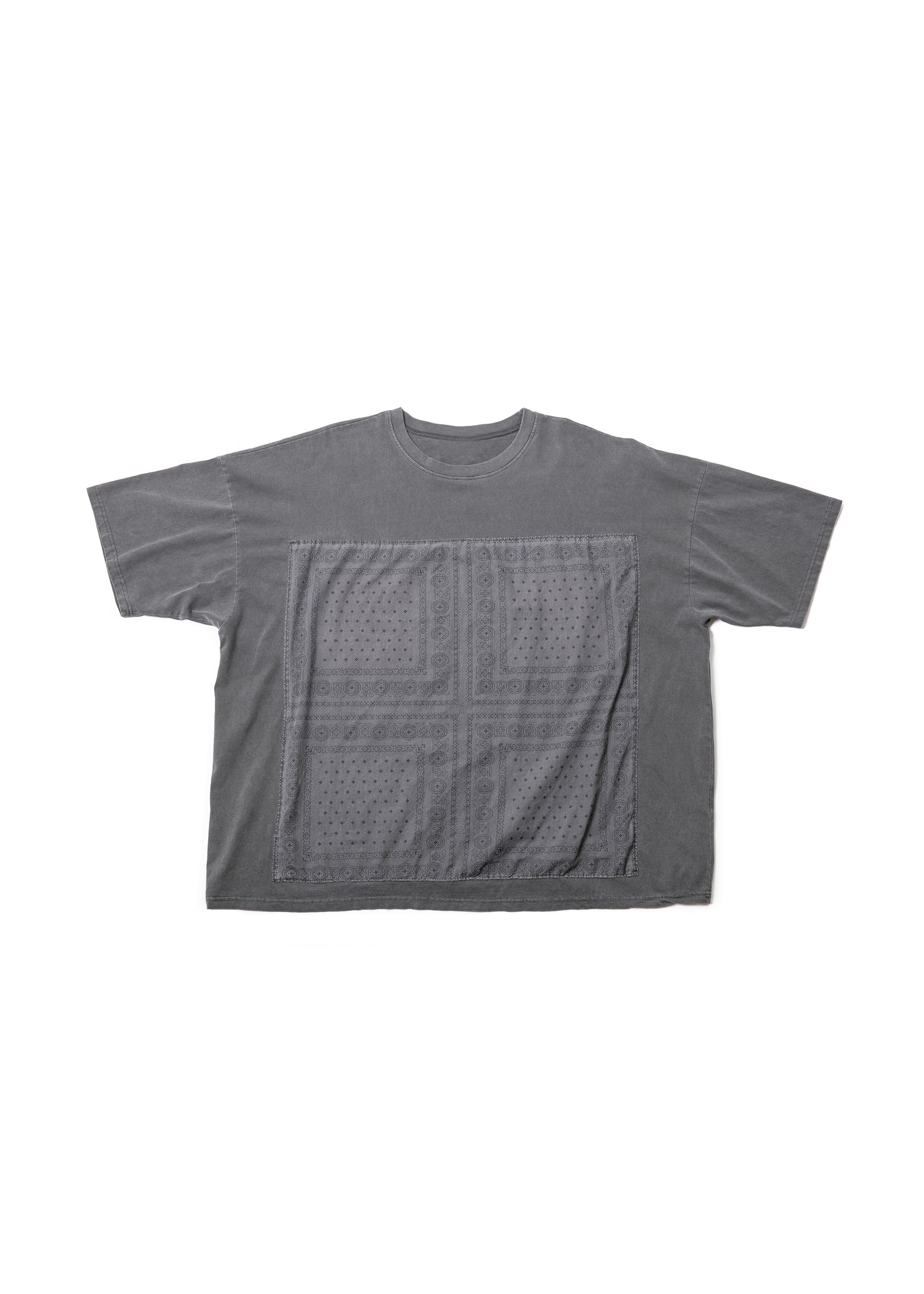 Paisley Pigment Washing Over Tee - Grey