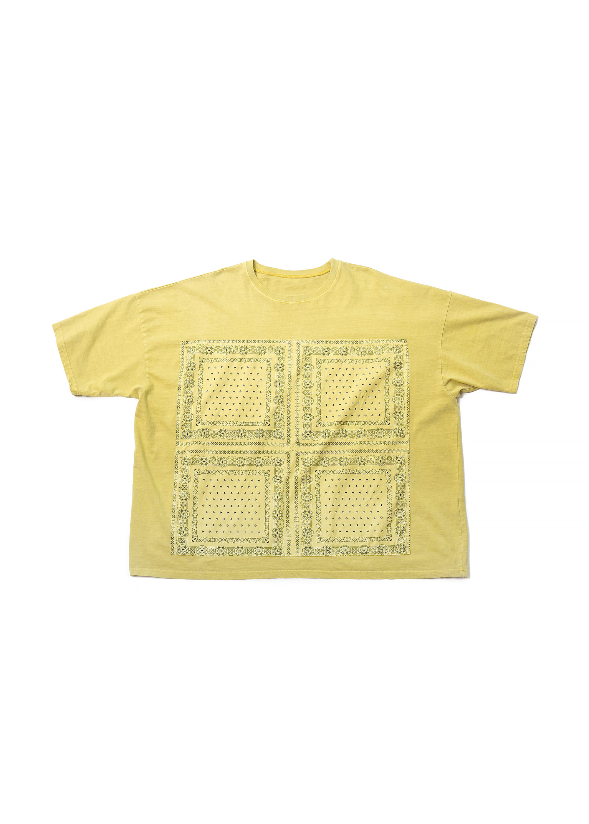 Paisley Pigment Washing Over Tee - Yellow