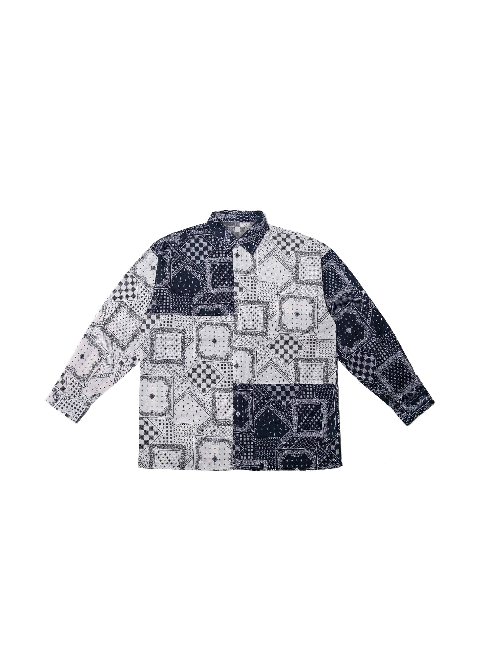 Paisley Patch Work Color Block Shirts - Navy