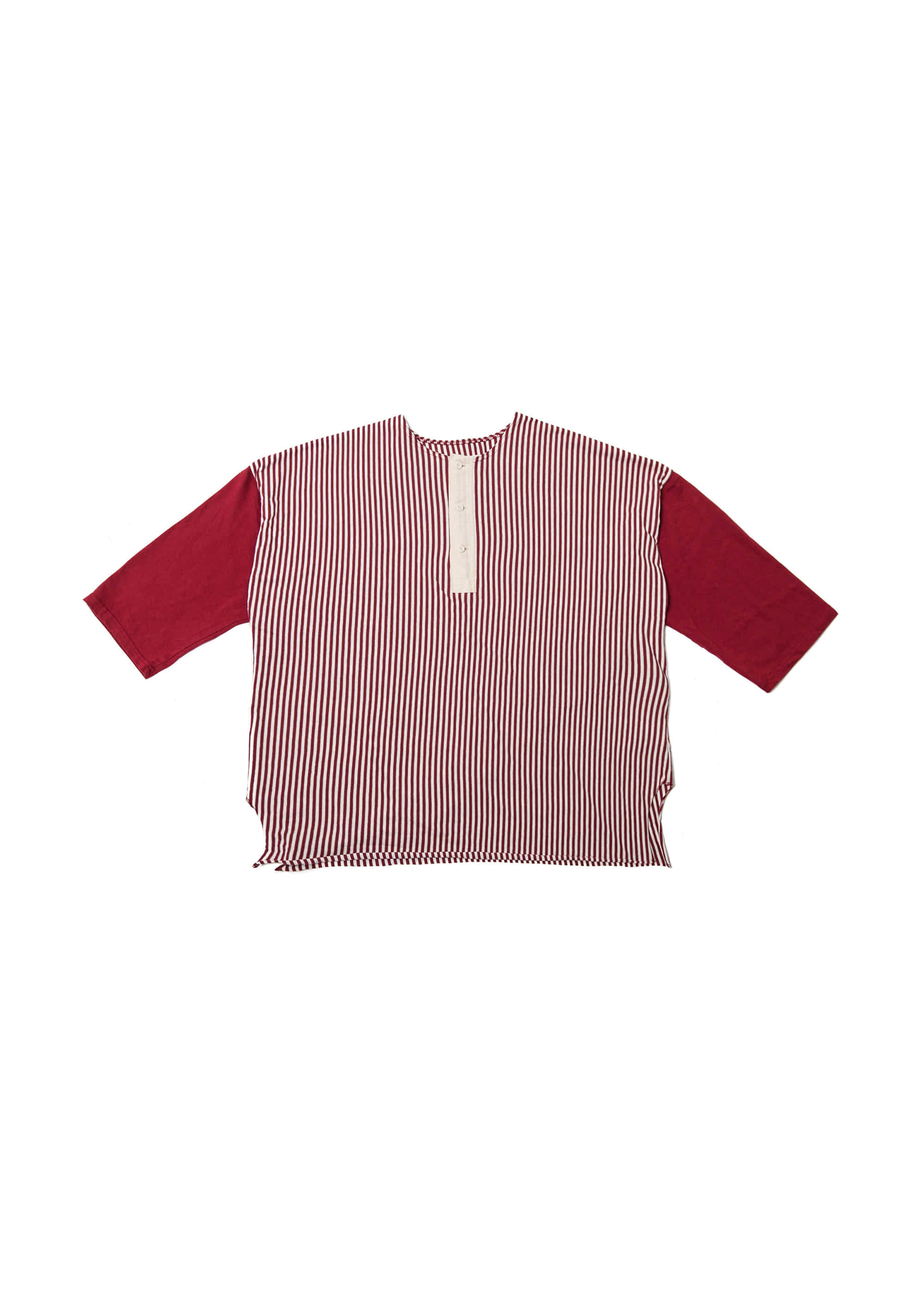 Stripe Henley Neck Over Tee - Red